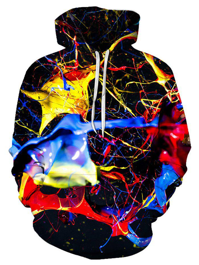 Colorful Print Pouch Pocket Hoodie - multicolor S
