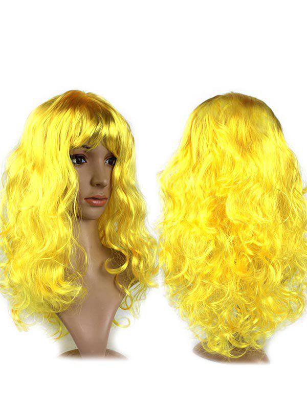 Long Side Fringe Wavy Synthetic Cosplay Wig - GOLD