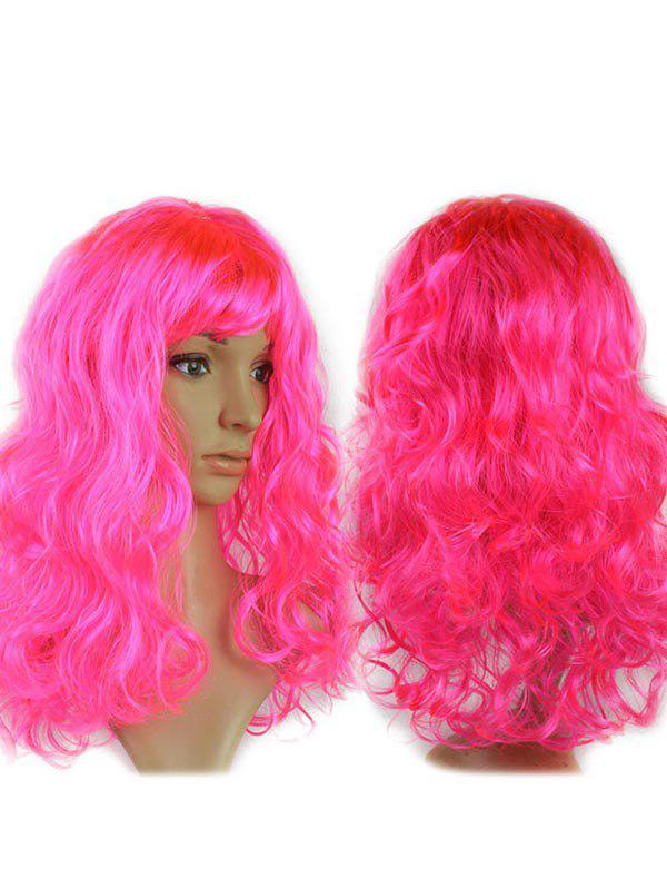 Long Side Fringe Wavy Synthetic Cosplay Wig - HOT PINK