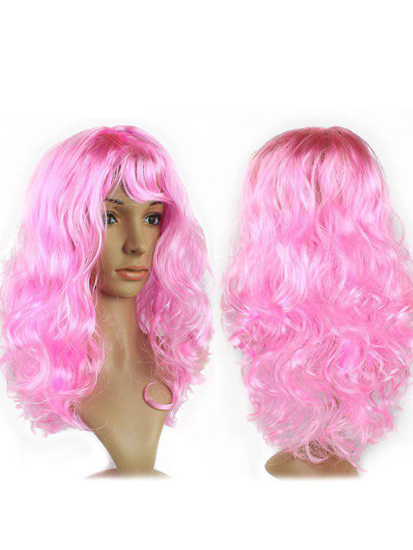 Long Side Fringe Wavy Synthetic Cosplay Wig - PINK