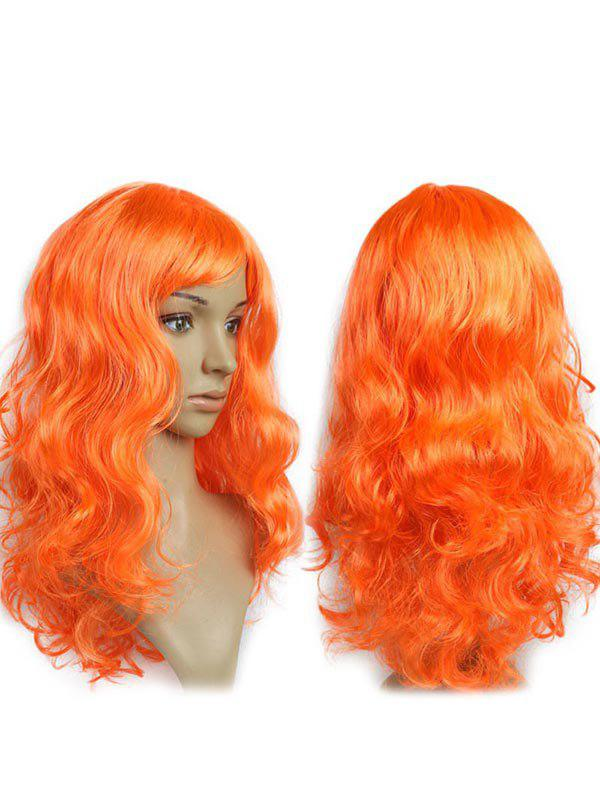 Côté long Fringe onduleux synthétique cosplay perruque - Orange Citrouille