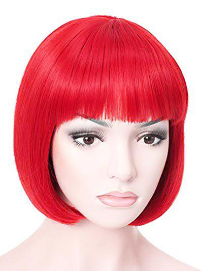 Synthétique court Plein Bang droite Bob cosplay perruque - Rouge