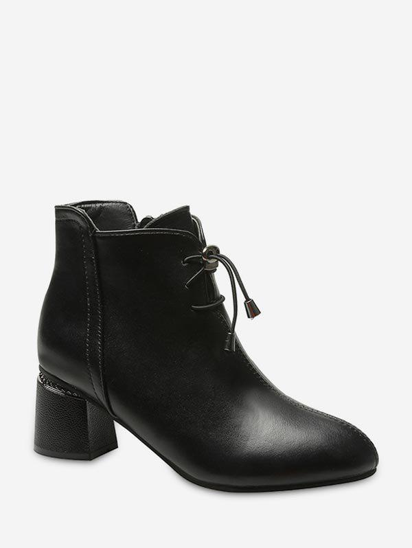 Toggle Drawstring Chunky Heel Leather Ankle Boots - BLACK EU 37