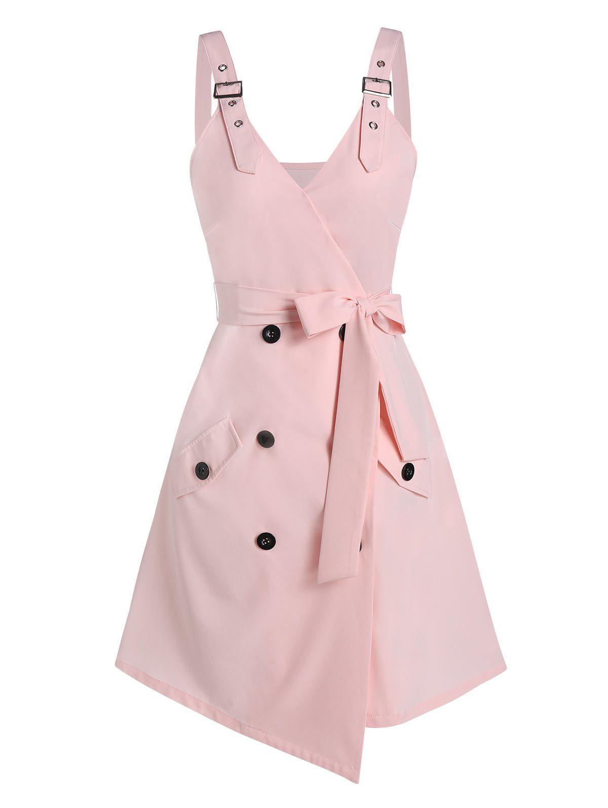 Button Wrap Asymmetrical Cami Dress - PINK XL
