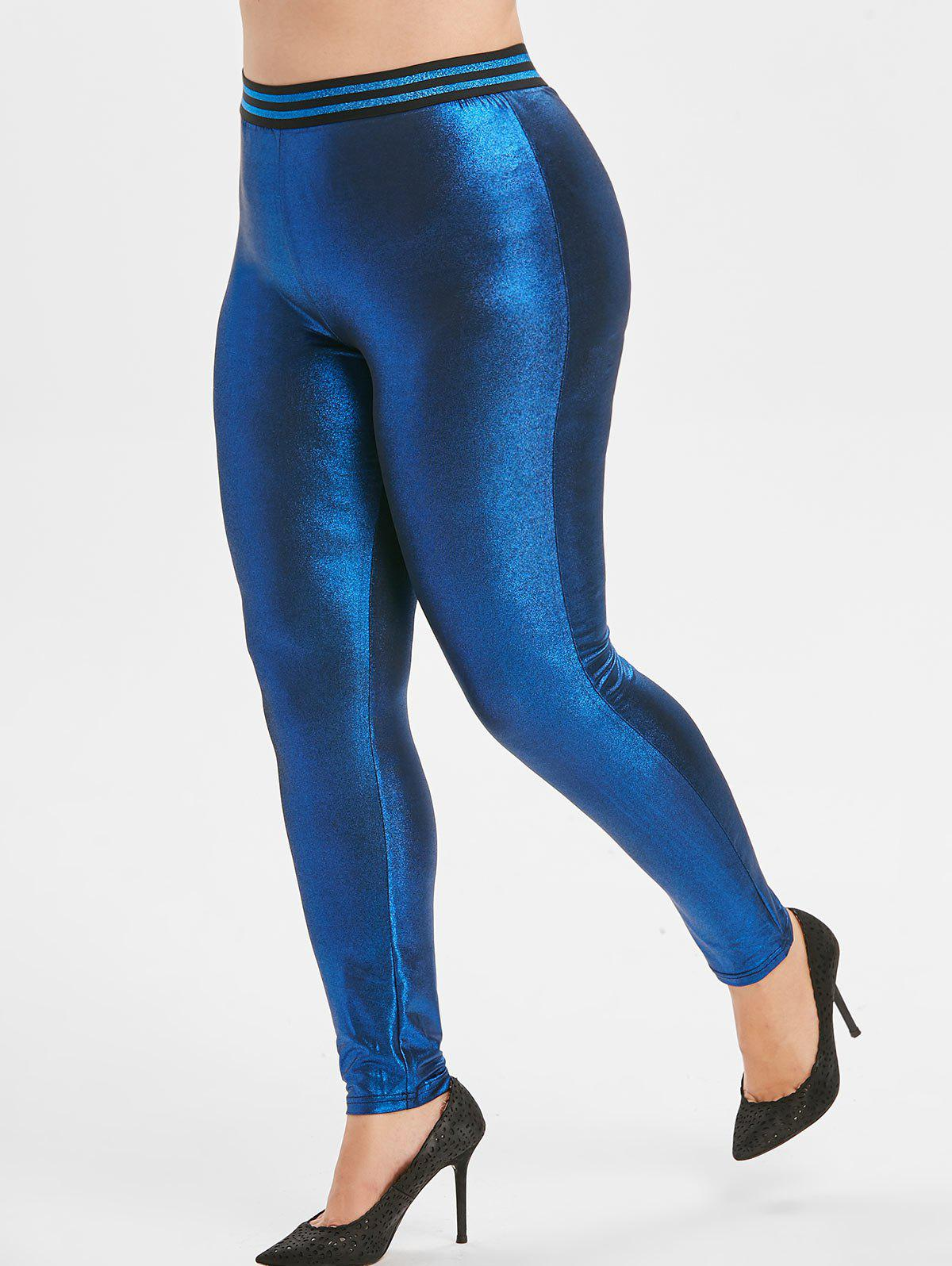 Metallic Striped Waistband Plus Size Leggings - BLUE 1X