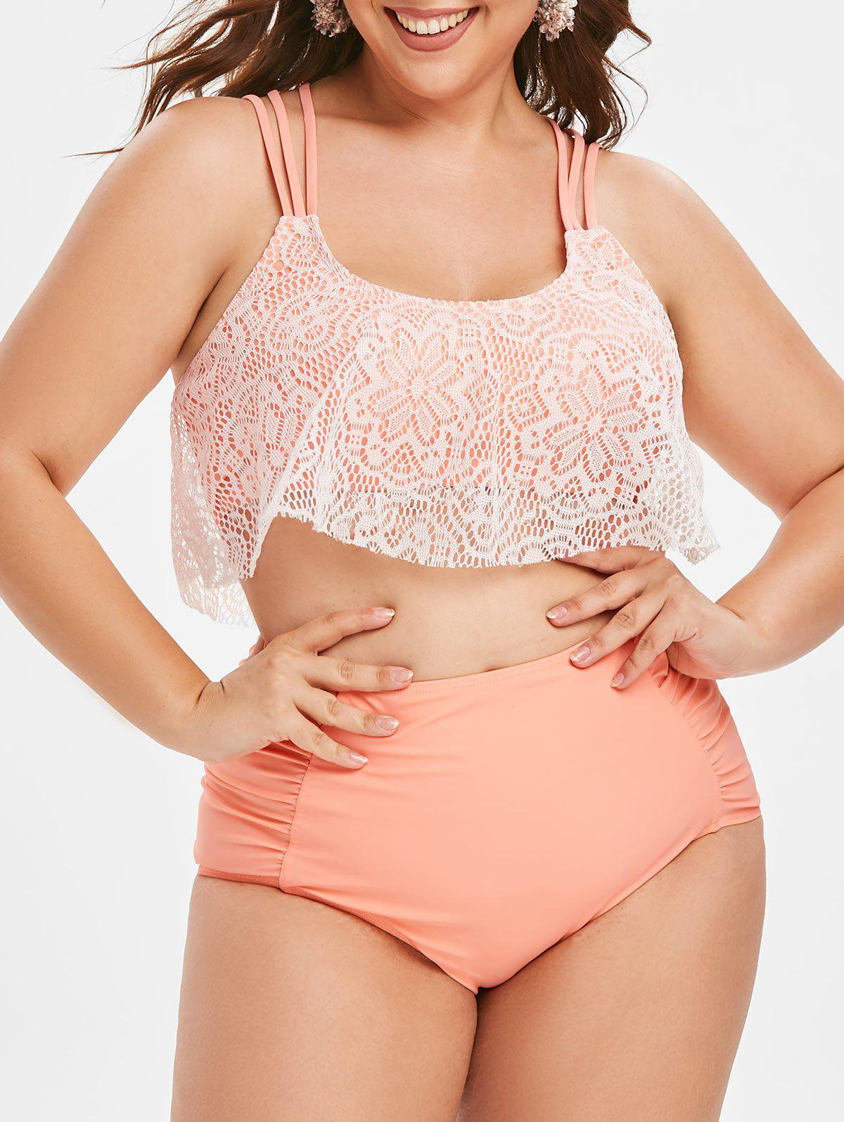 Lace Overlay Ruched High Waisted Plus Size Tankini Swimsuit - PINK 1X
