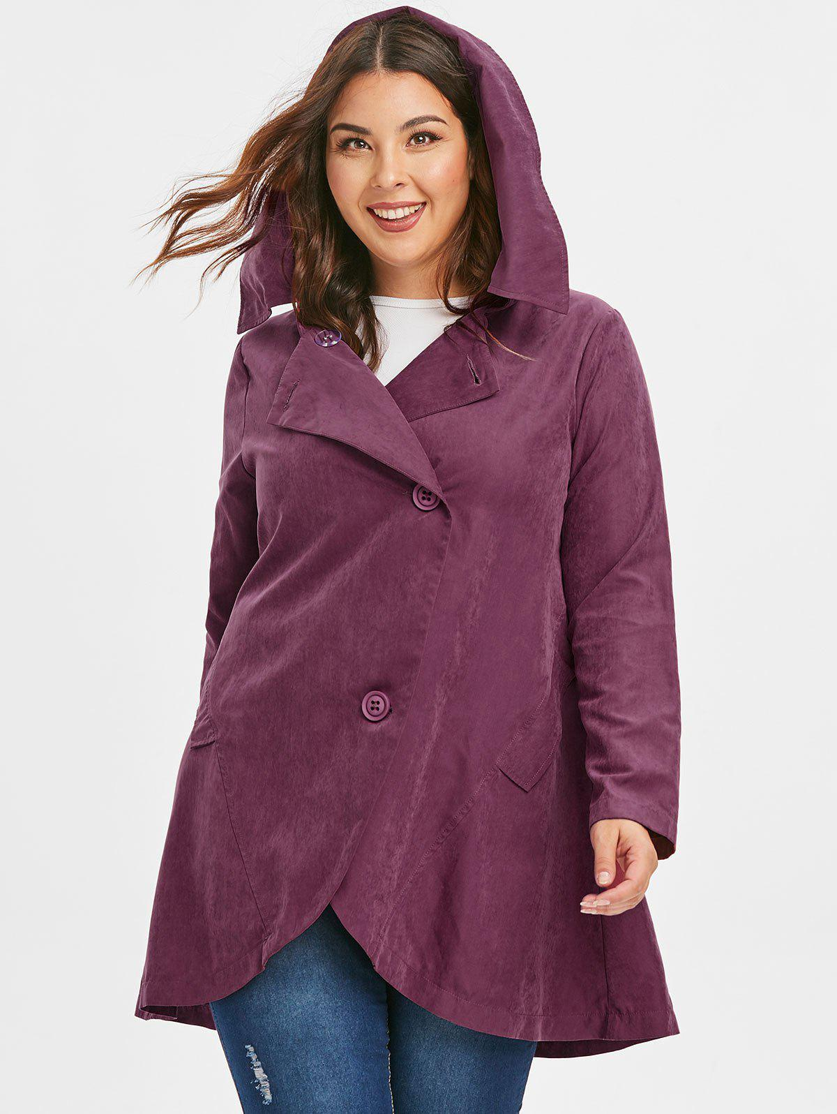 Plus Size Asymmetric Button Hooded Coat - ROSE RED 3X