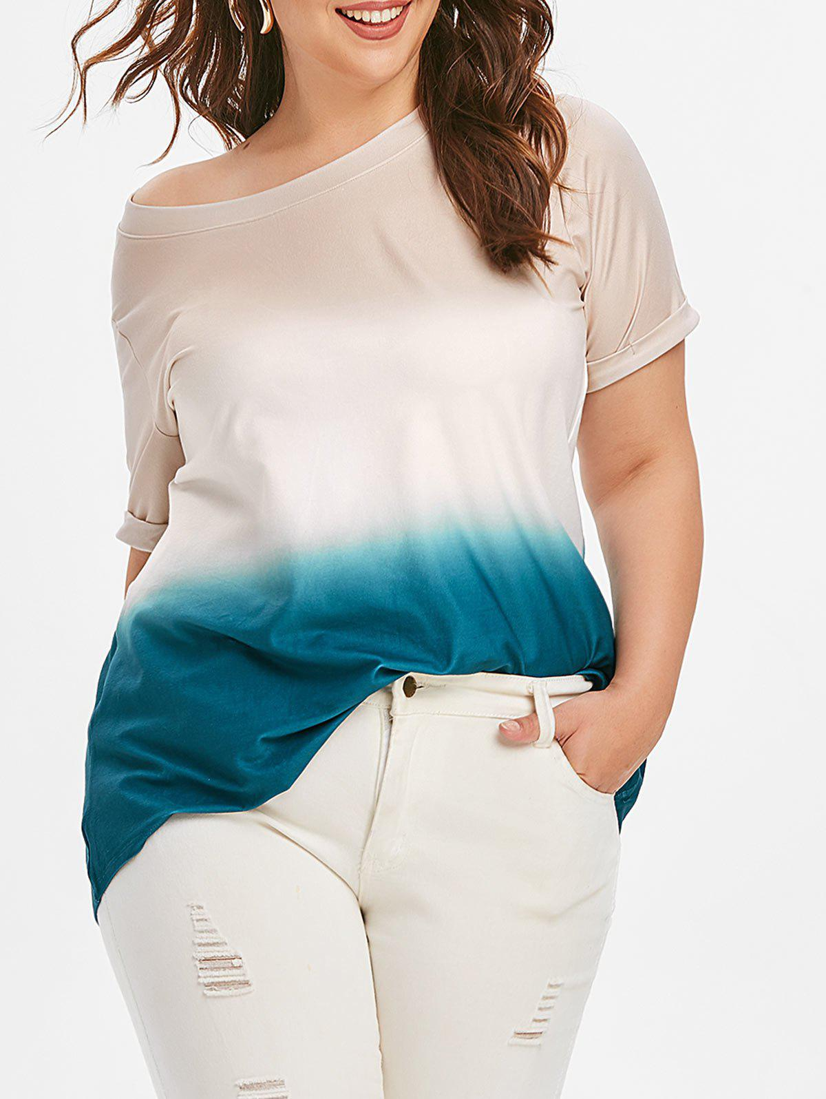 Ombre Cuffed manches Plus Size Tee - Bleu 2X