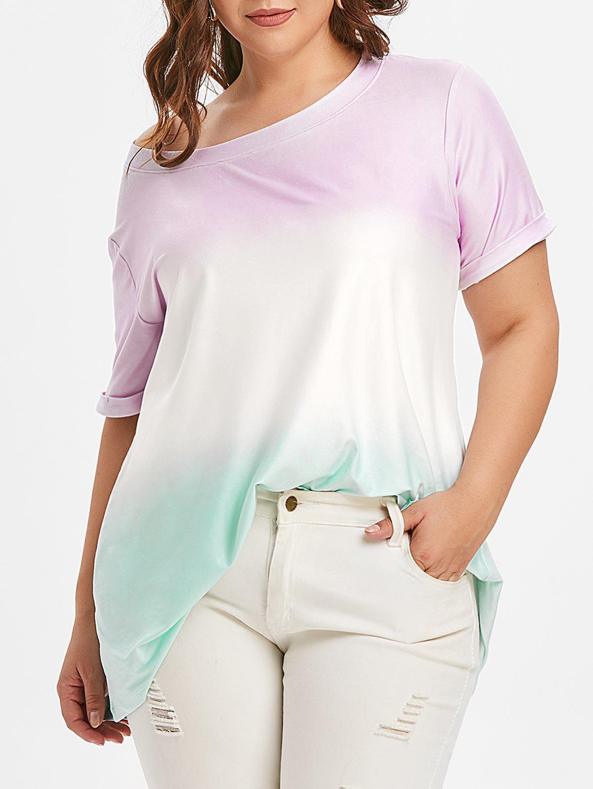 Ombre Cuffed manches Plus Size Tee - Pourpre 1X