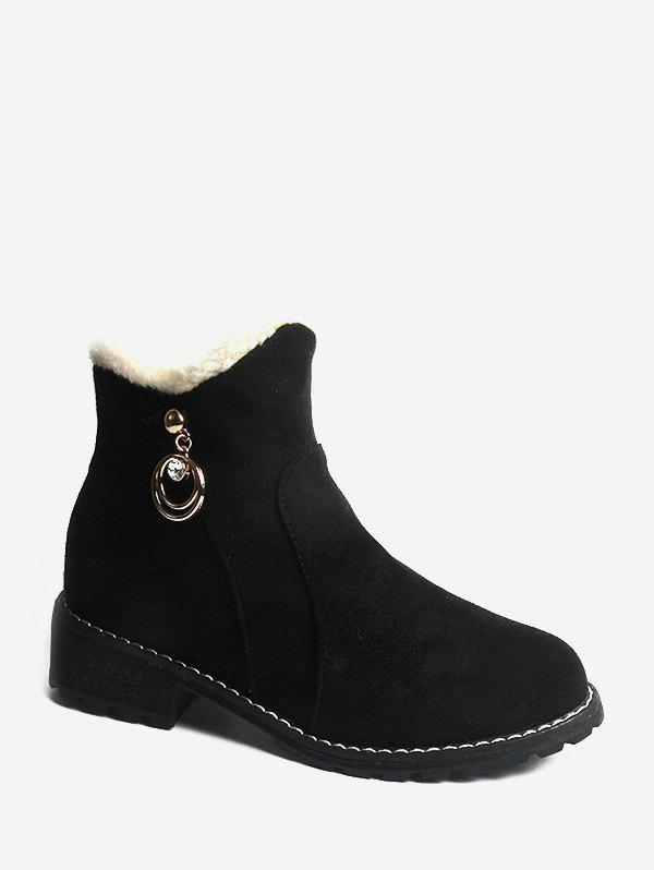 Rhinestone O-ring Embellished Suede Ankle Boots - BLACK EU 39