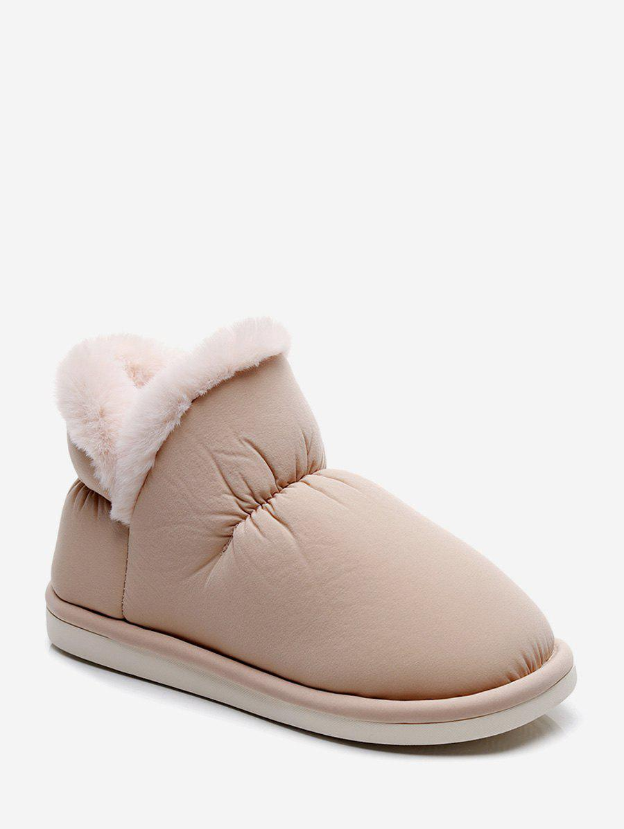 Stitching Detail Faux Fur Trim Snow Boots - CHAMPAGNE EU 37