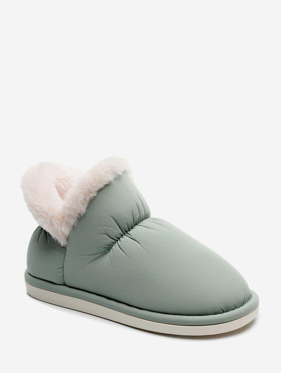 Stitching Detail Faux Fur Trim Snow Boots - ALGAE GREEN EU 38