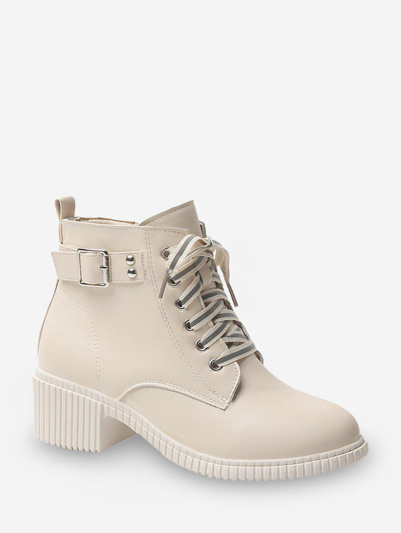 Buckled Lace Up Leather Cargo Boots - WHITE EU 35