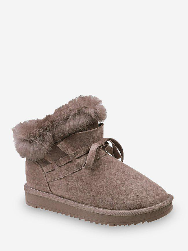 Bowknot Ruched Faux Fur Suede Snow Boots - BROWN EU 40