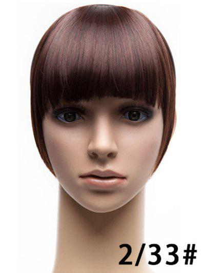 Full Bang Synthetic Straight Hair Piece - COFFEE