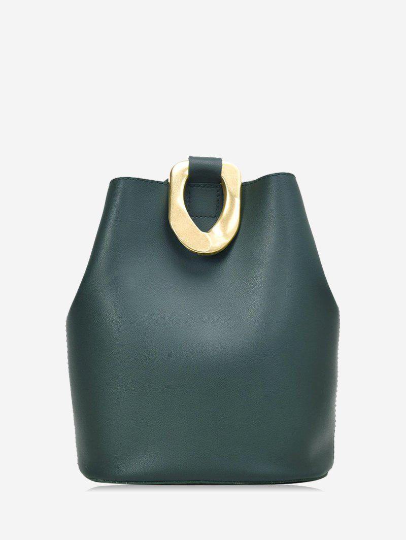 Metal Accent Leather Bucket Bag - DARK FOREST GREEN