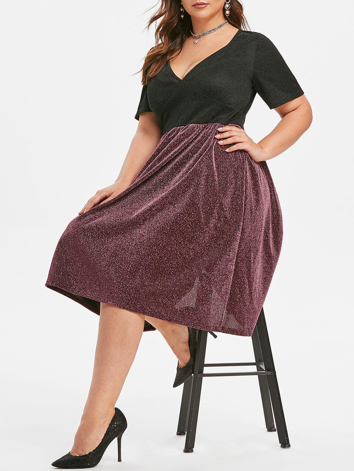 Plus Size Two Tone Sparkle Party Dress - RED WINE 3X