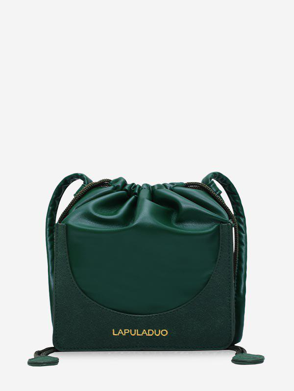 Letter Print PU Leather Drawstring Crossbody Bag - DEEP GREEN