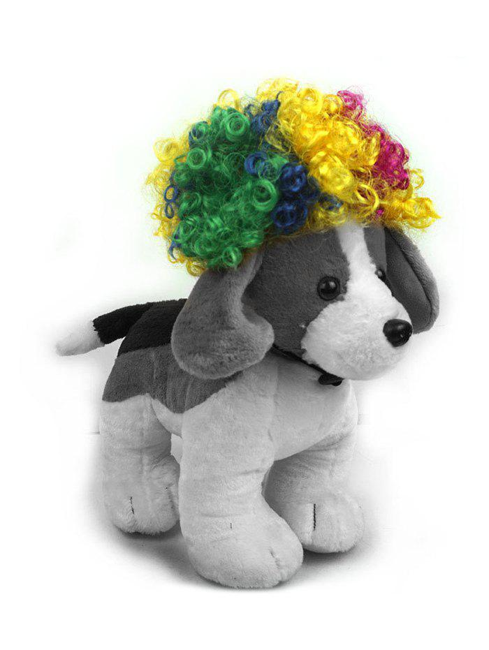 Pet Dog Supplies Curly Short Synthetic Wig - multicolor