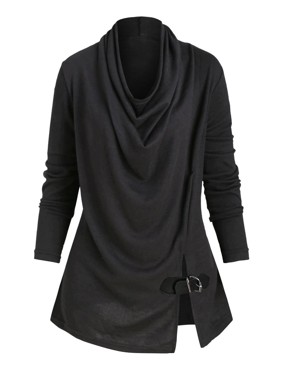 Cowl Neck Slit Buckle Knitwear - NATURAL BLACK S