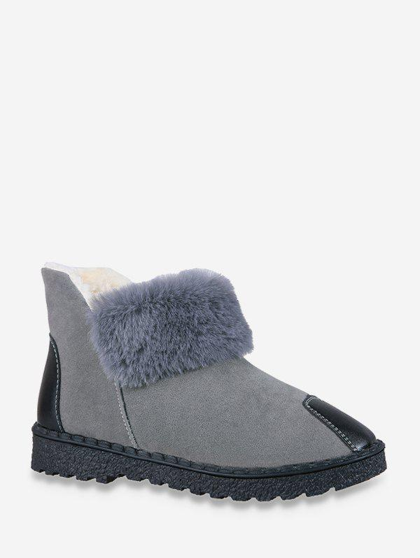 PU Leather Panel Faux Fur Fleece Snow Boots - GRAY EU 40