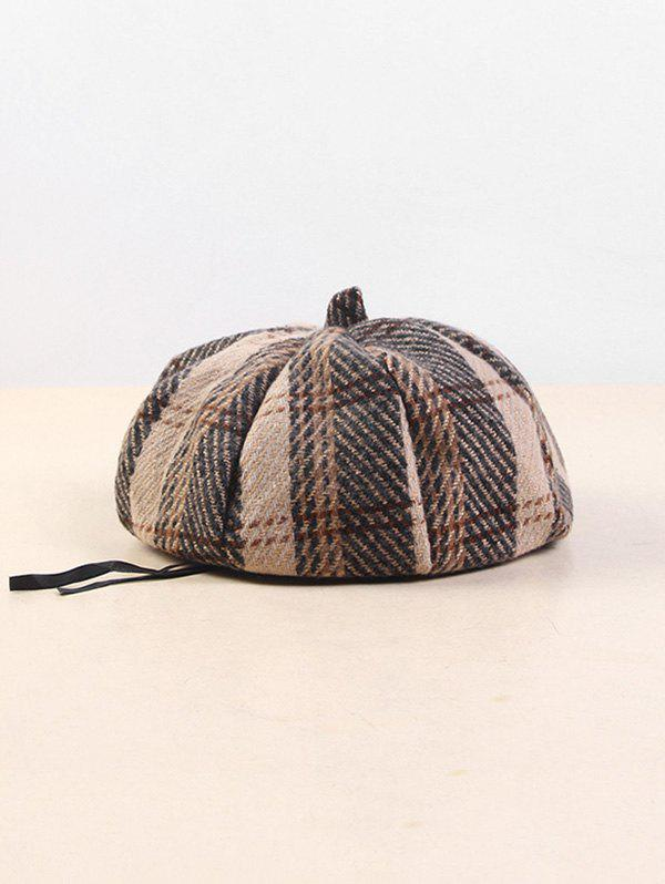 Cotton Plaid Beret Hat - KHAKI