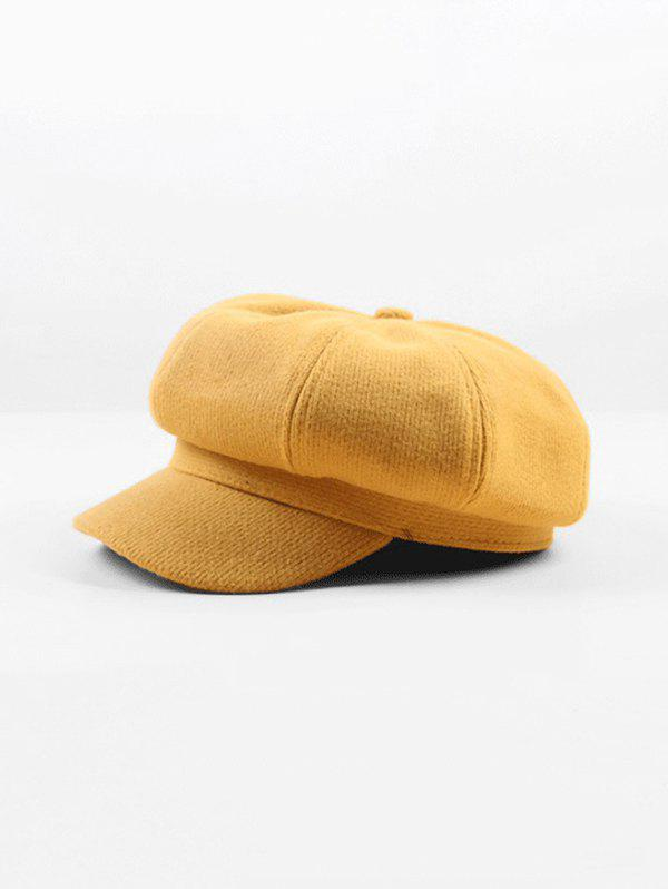 Octagonal Beret Peaked Solid Hat - YELLOW