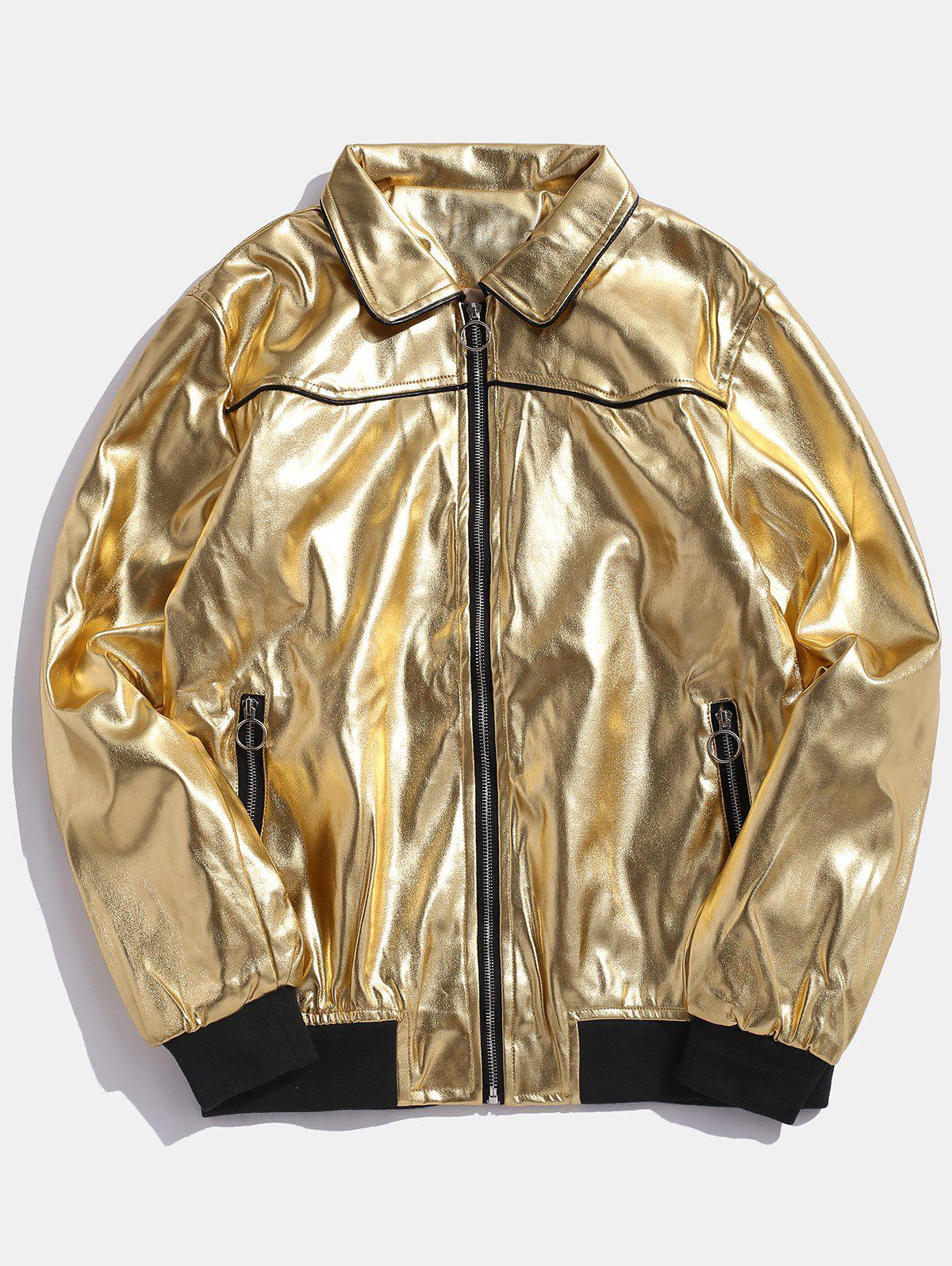 O-ring Pull Vinyl Leather Zip Up Jacket - GOLD 2XL