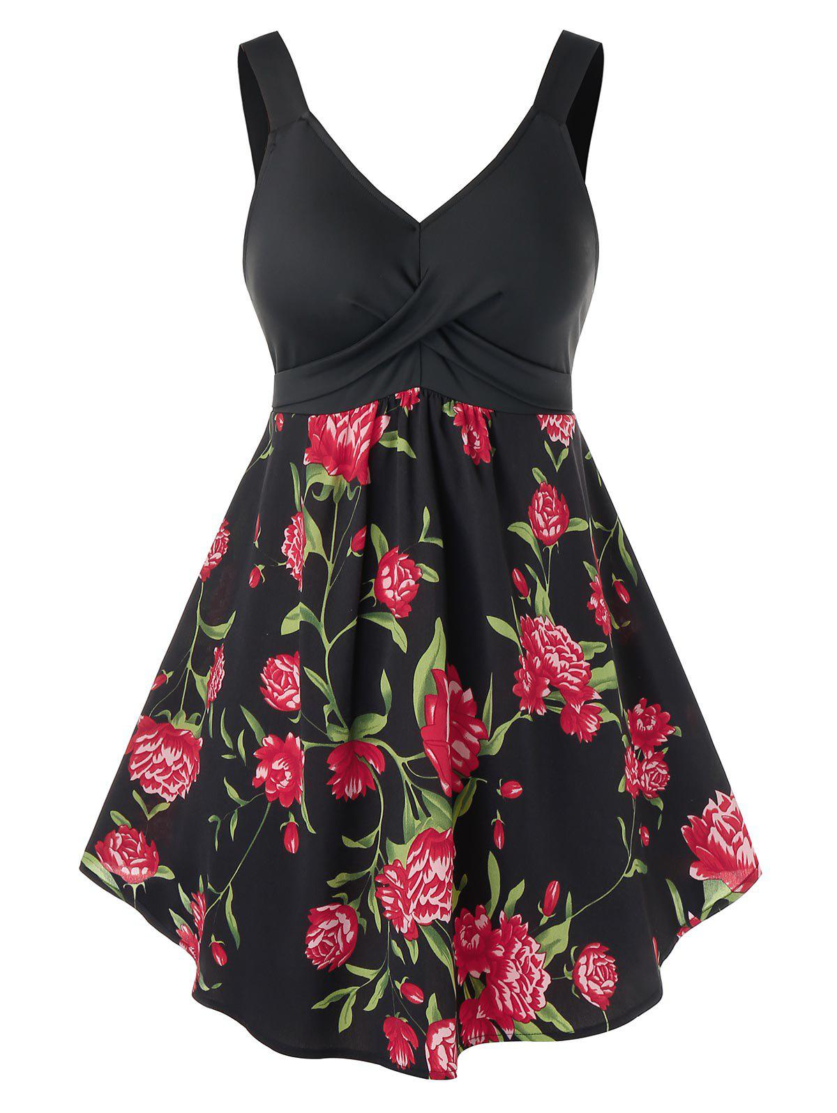 Plus Size Floral Printed Tank Top - BLACK 3X