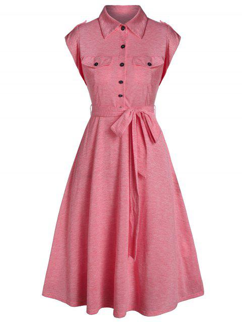 Half Button Double Pocket Belted Flare Dress