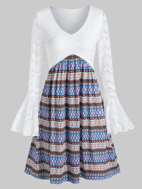 Flare Sleeve Lace Tribal Print Dress