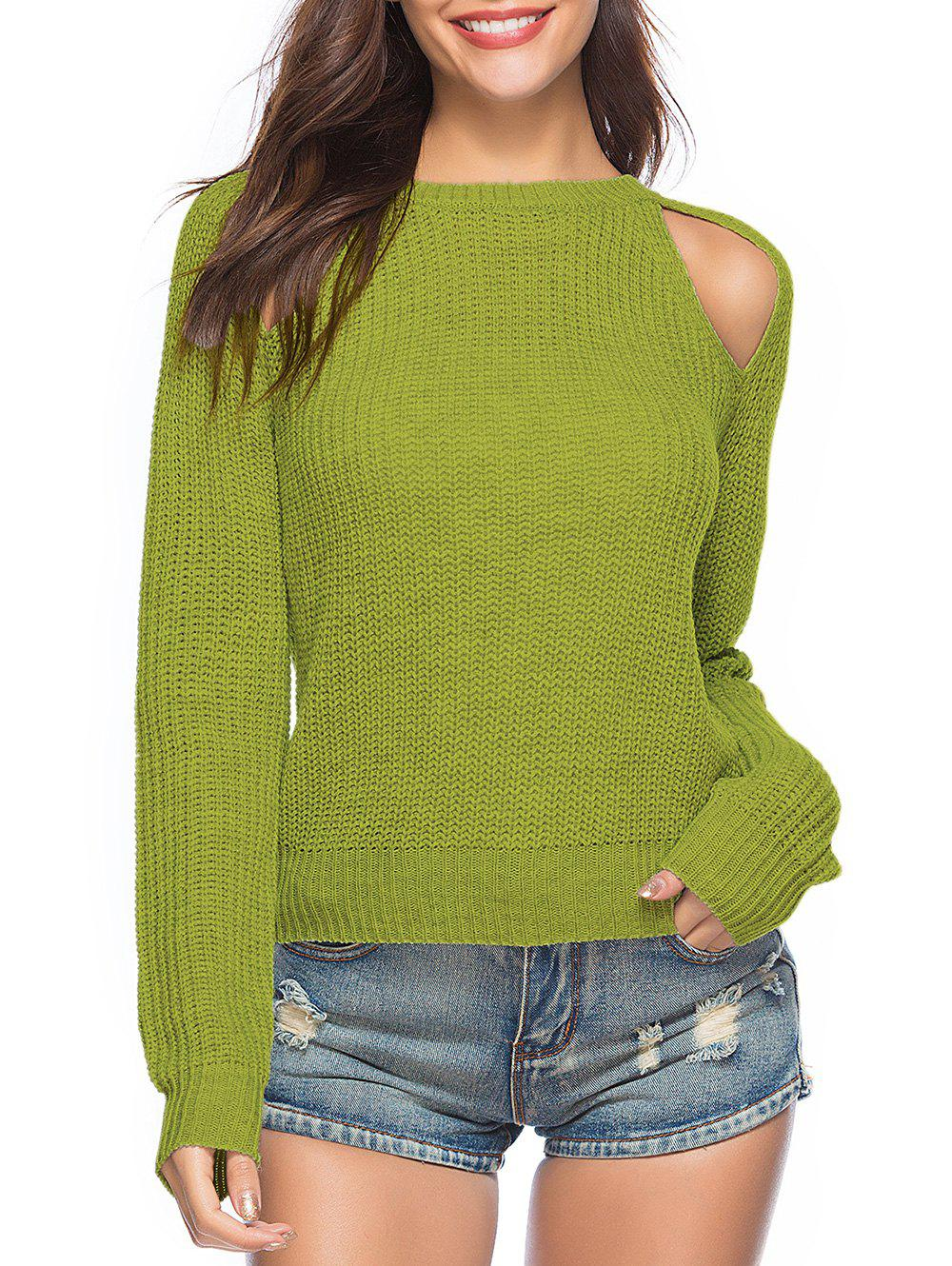 Cut Out Crew Neck Solid Sweater - PISTACHIO GREEN XL