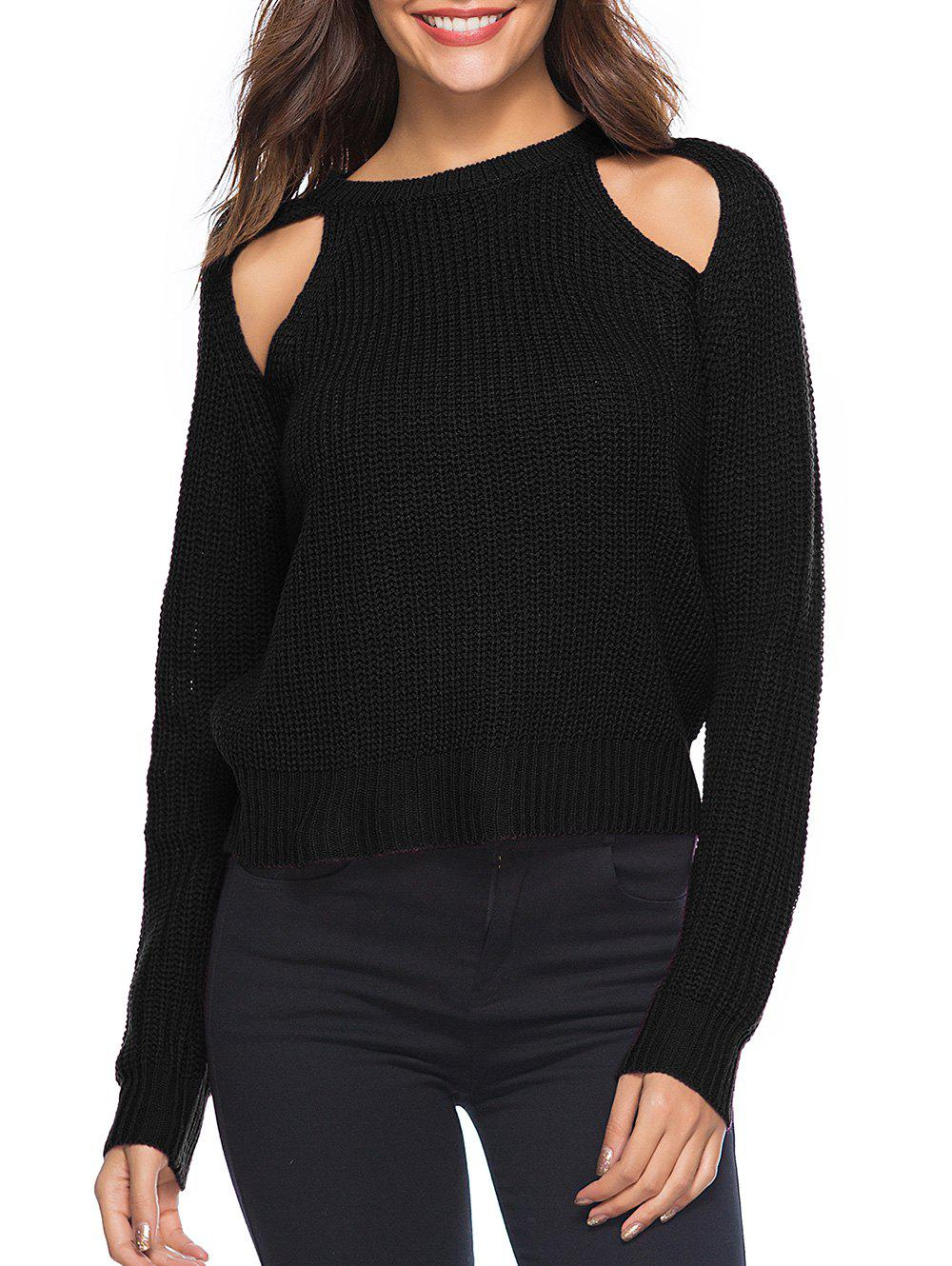 Cut Out Crew Neck Solid Sweater - BLACK XL