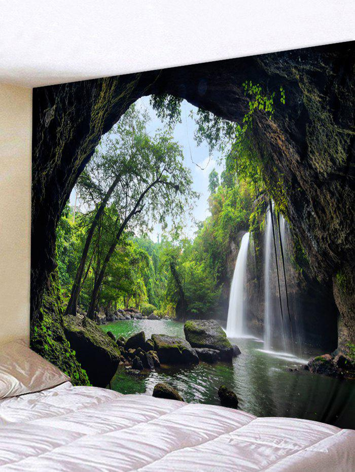 Printed Waterfall Tree Cave Brushed Tapestry - MEDIUM FOREST GREEN W104 X L88 INCH