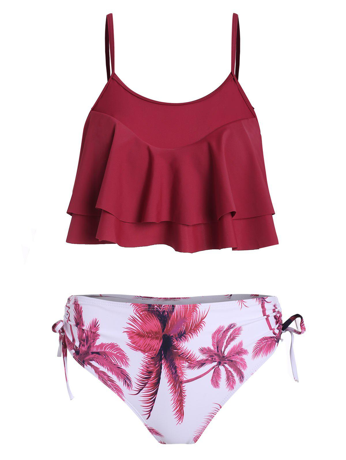 Palmier Cinched Overlay Tankini Set - Rouge Vineux XL