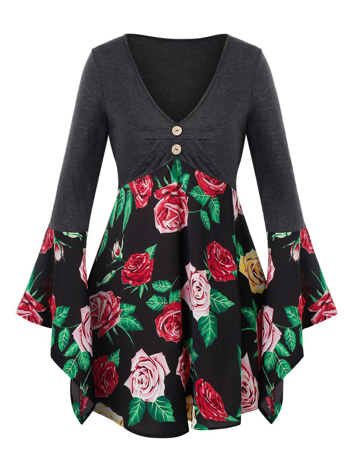 Plus Size Flower Print Bell Sleeve Tunic Tee - BLACK 1X