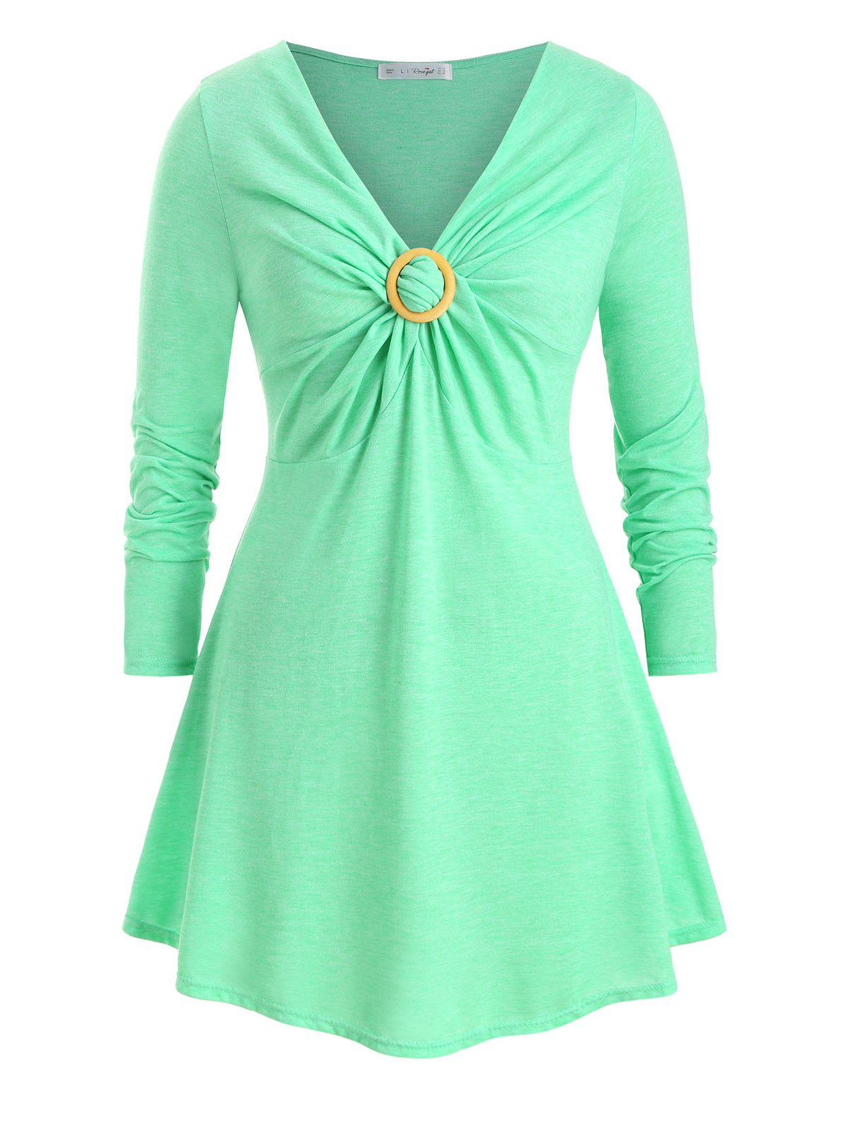 O Ring Twisted Front V Neck Plus Size Longline Top - GREEN L