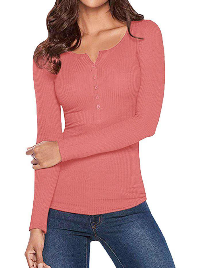 Half Button Solid Long Sleeves Top - PINK S
