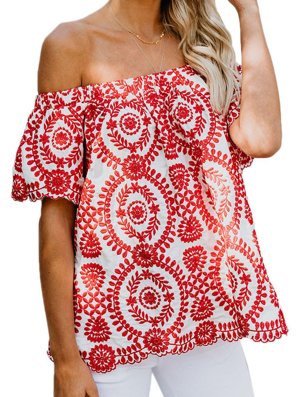 Flower Embroidered Off Shoulder Tunic Blouse - RED 2XL