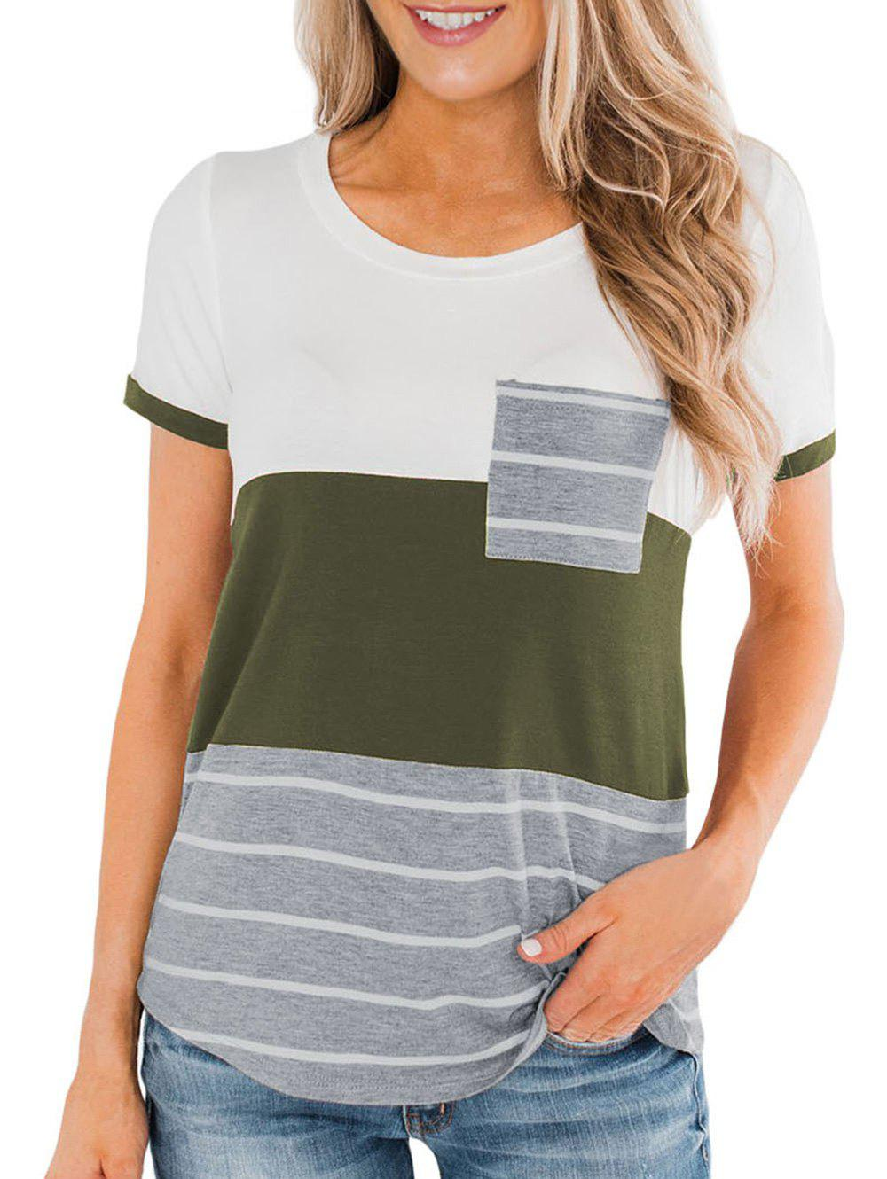 Striped Pocket Short Sleeve T-shirt - CAMOUFLAGE GREEN 2XL