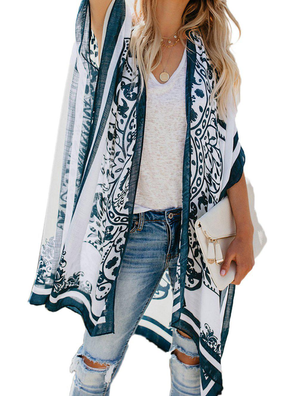 Printed Collarless Slit Poncho Cover Up - WHITE ONE SIZE