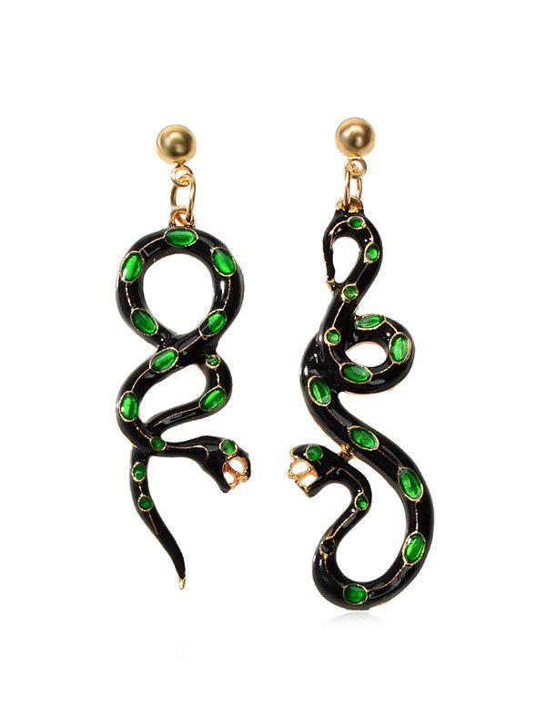 Enamel Snake Asymmetric Drop Earrings - DEEP GREEN