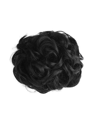 Short Curly Synthetic Drawstring Hair Piece - BLACK