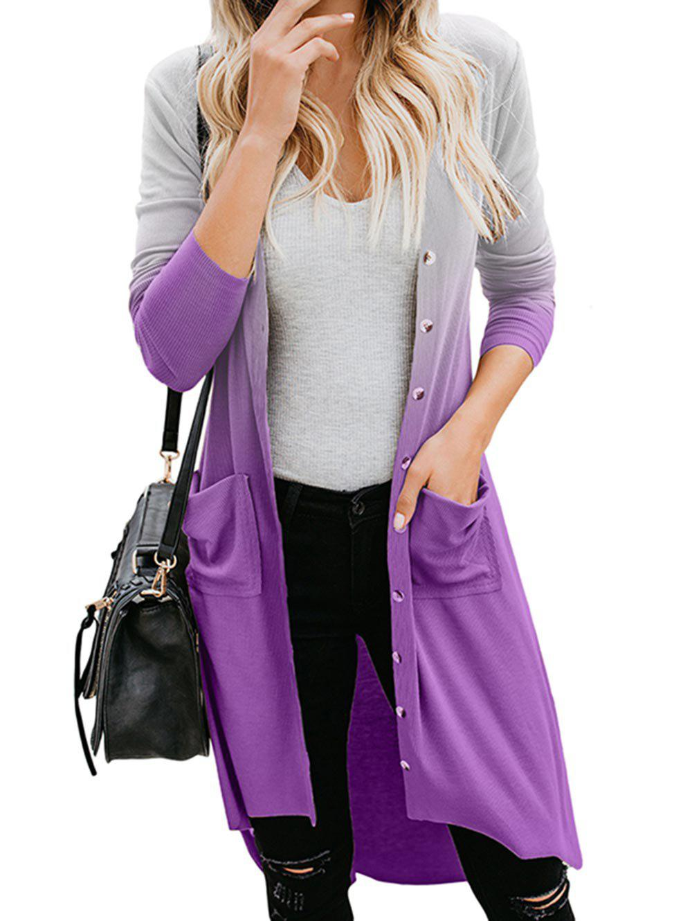 Dip Dye Pocket High Low Button Up Cardigan - TYRIAN PURPLE XL