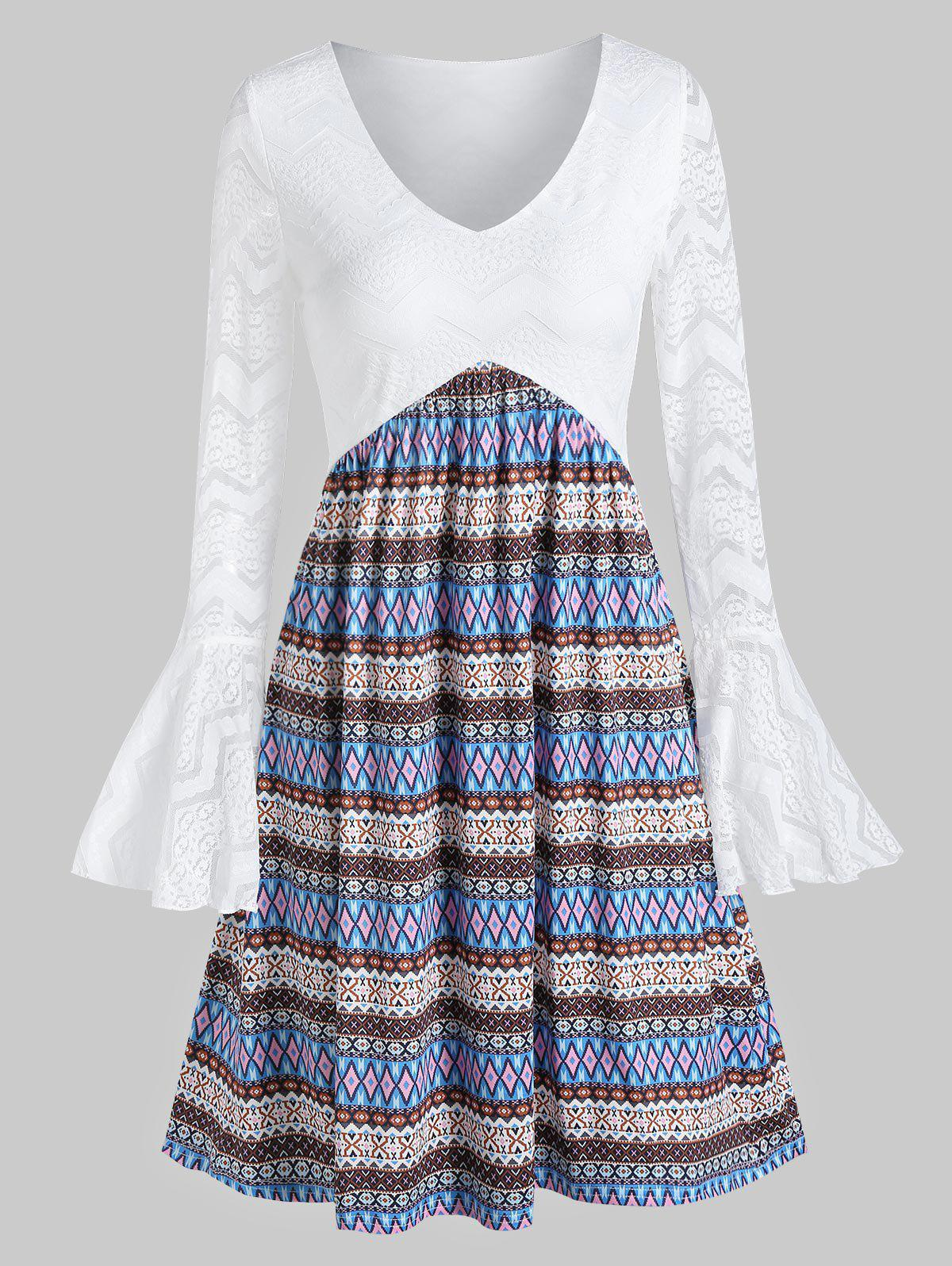 Flare Sleeve Lace Tribal Print Dress - WHITE 3XL