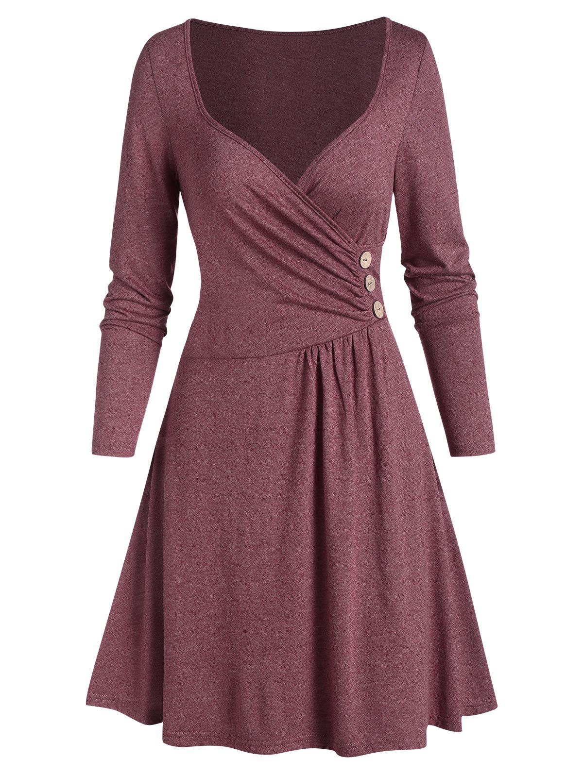 Plunging Neck Ruched Mini Long Sleeve Dress - RED WINE M