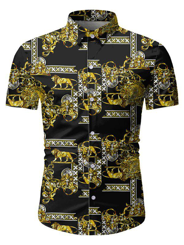 Animal Lion Pattern Short Sleeves Shirt - BLACK 3XL