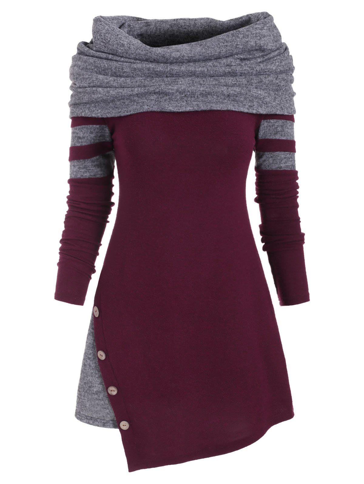 Buttons Colorblock Asymmetric Capelet Knitwear - RED WINE S