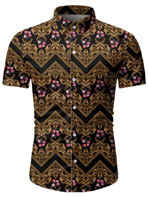 Floral Baroque Pattern Short Sleeves Shirt - BEE YELLOW 3XL