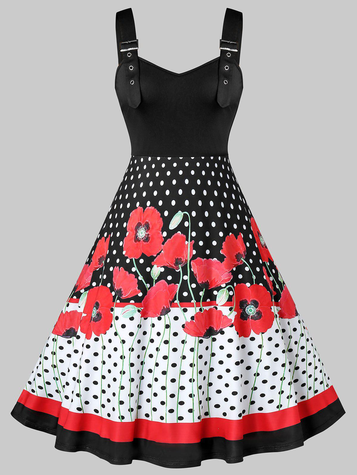 Plus Size Flower Polka Dot Buckle Strap Flare Retro Dress - multicolor 5X